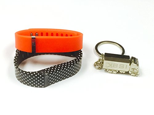 BSI Set Small 1pc Black with White Dots and 1pc Real Red Replacement Bands With Clasps for Fitbit Flex /No tracker/ Wireless Sport Activity Bracelet Wristband + Free Silver Metal Truck Keychain with BSI(TM) LOGO