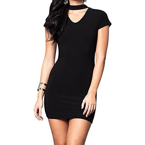 8560e4af81 Cheryl Creations Women's Short Sleeve V-Neck Comfortable & Stretch Mini  Holiday Day/Night Party Dress | Choker Neckline