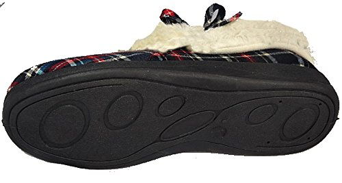fur Famous Navy faux Suede Check Ladies with Moccasin Lining Slippers Dunlop warm UgwnTW8q