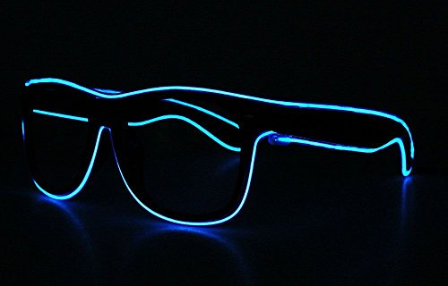 2016 LED EL Wire Glasses Light Up Glow Flashing Sunglasses Eyewear for Raves Party - - Wire El Sunglasses