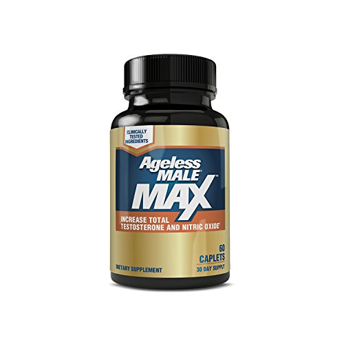 Ageless Male MAX Total Testosterone and Nitric Oxide Booster Supplement for Increasing Muscle Size, Stamina Enhancement, Sleep + Reducing Body Fat & Stress - 60 Tablets (1 Pack)
