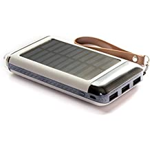 PINOPRIDE Solar Charger 15000mAh Outdoor Portable Solar Powered Outlet Phone External Battery Pack Cell Mobile Power Bank Outdoor Powered Outlet Usb Device as Iphone, Ipad with Sunlight Panel Charging