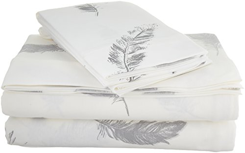 Brielle Fashion 100% Cotton Jersey, Cal-King Sheet Set, Feathers - Jersey knitted (t-shirt); single-ply yarns; imported Cal-King sheet set includes flat sheet, fitted sheet, and 2 pillow cases 108-By-102 inch flat sheet, 72-by-84 inch fitted sheet, 20-by-40 inch King pillow cases - sheet-sets, bedroom-sheets-comforters, bedroom - 41tPlbt2beL -