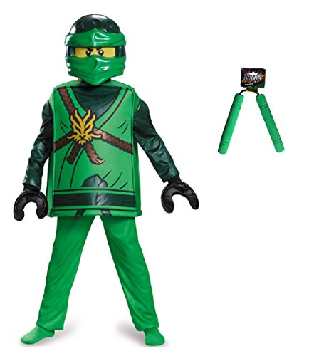 [Ninjago Lloyd Deluxe Costume Size Large (10-12) with Ninja Nunchaku & Treat Bag] (Lego Ninja Costume)
