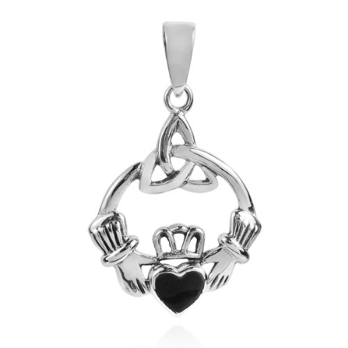 - AeraVida Heart Celtic Claddagh Simulated Black Onyx .925 Sterling Silver Pendant