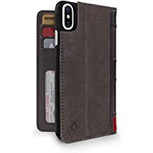 Twelve South BookBook for iPhone X   3-in-1 leather wallet case, display stand and removable shell (brown)