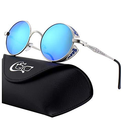 CGID E71 Retro Steampunk Style Inspired Round Metal Circle Polarized Sunglasses for Women -