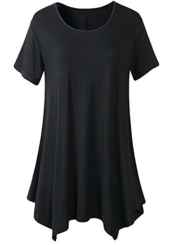 Sueetyus Women's Loose Casual Short Sleeve Round Neck Tank Tops 16 Colors(S-3XL) Black Large