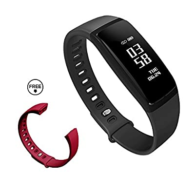 K-berho Fitness Tracker with Heart Rate Monitor Blood Pressure Running Pedometer Smart Bracelet Bluetooth Waterproof Message Push for IOS & Android (Red)