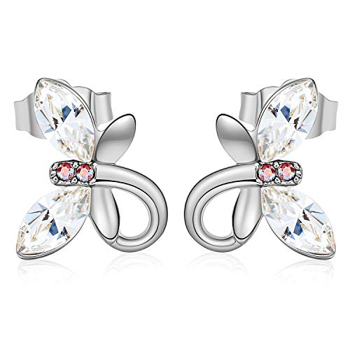 CDE Ear Jewelry for Women Girls Hypoallergenic White Gold Butterfly Stud Earrings Embellished with Crystals from Swarovski S925 Sterling Silver Needle (Sterling Silver Swarovski Jewelry)