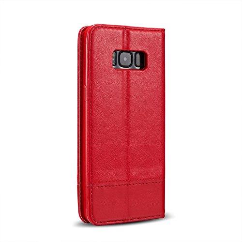 XIAOGUA Cases & Covers, Para Samsung Galaxy S8 + / G9550 Absorción de doble cara Empalme Horizontal Funda de cuero con cremallera con soporte y ranuras para tarjetas y cordón ( Color : Red ) Red