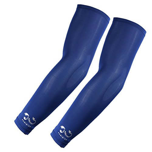 2 Pairs, Kids Youth Size Sports Moisture Wicking Compression Arm Sleeves, Blue, Navy by Scorpion (Image #2)