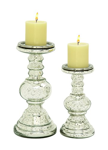 Glass Candlestick Candle Holder - UMAC Set of 2 Silver Mercury Glass Pillar Candle Holders, Candlesticks, 12 Inches and 9 Inches High