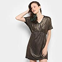 Vestido Drezzup Evasê Curto Metalizado
