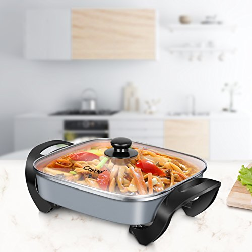 Caynel Nonstick Ceramic Electric Skillet, 12 x 12 inch Aluminum Body, With Glass Lid, 1400-Watts, Adjustable Temperature Controller Goes Up to 460 Degrees, Even Heat and Easy Clean (Copper) by CAYNEL (Image #4)