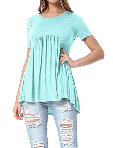 Fitted Baby Doll Tee - ZJFZML T Shirts for Women Short Sleeve, Feminine Chic Stylish Round Neck Peplum Babydoll Designer Elegant Beautiful Clothes Cute Pleated Tunic for Work Fitted Blouses and Tops Sky Blue Large