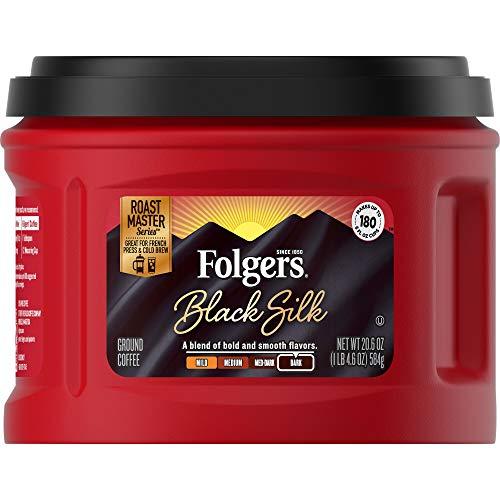 Folgers Black Silk Ground Coffee, Dark Roast, Caffeinated, 20.6 Ounces (Pack of 3), Packaging May Vary