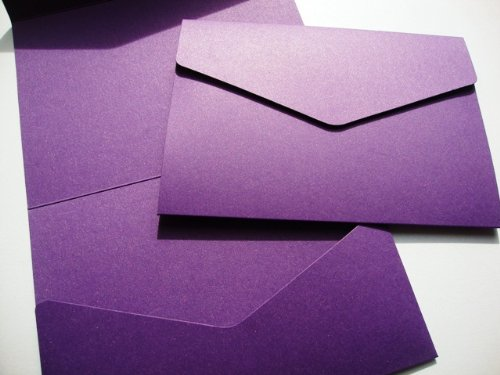 Cranberry Card Company A5 Pocketfold Blank Wallets - With Plain White 100Gsm Envelopes (25, Cadbury Purple/Violette)