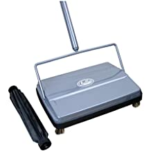 "Fuller Brush Electrostatic Carpet & Floor Sweeper with Additional Rubber Rotor - 9"" Cleaning Path - Gray"