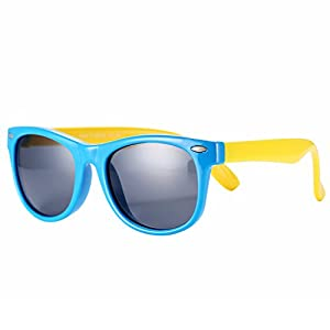 Pro Acme TPEE Rubber Flexible Kids Polarized Wayfarer Sunglasses Age 3-10