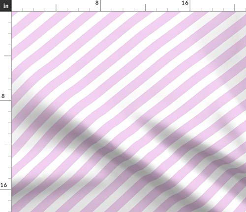Spoonflower Stripe Fabric - Stripe Stripes Unicorn Quilt Pink Diagonal Stripes by Charlottewinter Printed on Petal Signature Cotton Fabric by The Yard