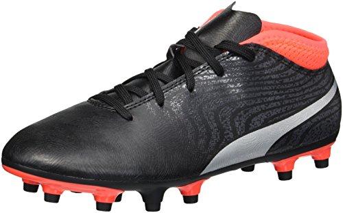 Foam Junior Boot - PUMA Unisex-Kids One 18.4 FG Jr Soccer-Shoes, Black Silver-Red Blast, 6.5 M US Big Kid