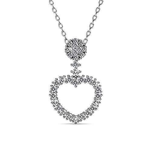 Cate & Chloe Brynn Sophisticated Heart Pendant Necklace, Women's 18k White Gold Plated Necklace with Sparkling Pave Stone Round Cut Swarovski Crystals, Silver Pendant Necklace for Women