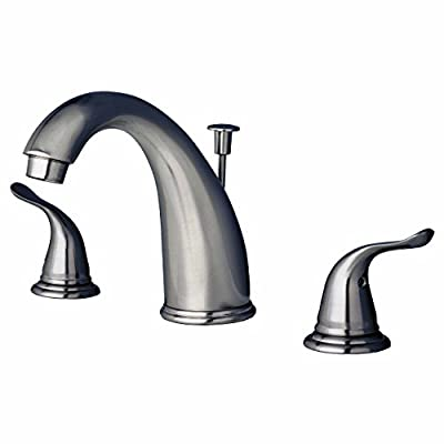 Builders Shoppe 2110BN Two Handle Widespread Lavatory Faucet with Pop-Up Drain, Brushed Nickel Finish