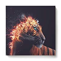 GreaBen Modern Canvas Wall Art Square Oil Painting Home Decor for Office Hotel,Brown Tiger with Flame Animal Pattern Canvas Artworks,Stretched by Wooden Frame,Ready to Hang,12 x 12 Inch