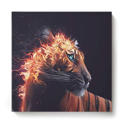 GreaBen Modern Canvas Wall Art Square Oil Painting Home Decor for Office Hotel,Brown Tiger with Flame Animal Pattern Canvas Artworks,Stretched by Wooden Frame,Ready to Hang,12 x 12 Inch ()