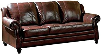 Princeton Rolled Arm Sofa Burgundy