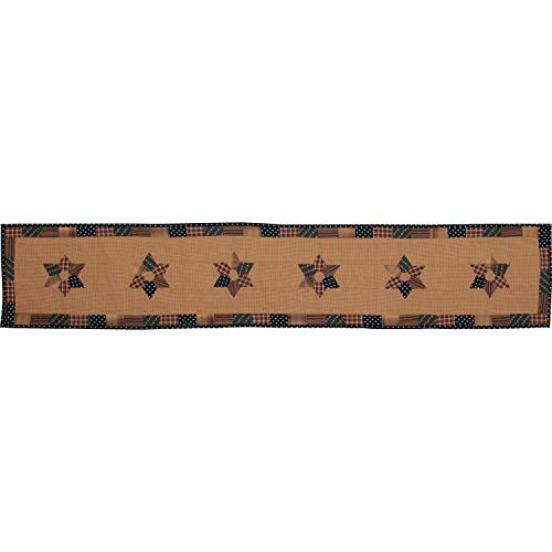 VHC Brands 53814 Primitive Tabletop Kitchen Patriotic Patch Cotton Patchwork Star Rectangle 13x72 Runner, Deep Red
