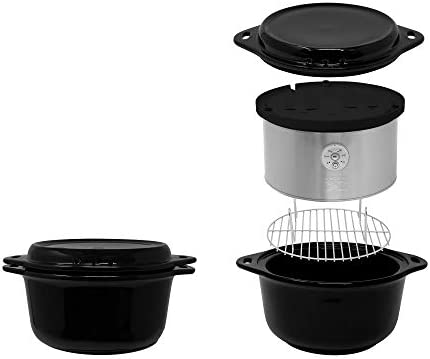 41tPqm6z24L. AC Kalorik All Natural BPA Free Ceramic Food Steamer, DG 44815 BK, Prepare Healthy Meals with Smart Digital One-touch Control, 4.5 Liter, Black    The black Kalorik digital ceramic steamer with steaming rack provides a healthy and easy way to to steam, and prepare a variety of foods! With a 4.5L capacity, this digital ceramic steamer comes in handy for cooking healthy dinners at any time. The unit provides a BPA-free ceramic pot and a steaming rack with removable handle, to steam food on 2 layers simultaneously. Other highlights include an adjustable 45-minute timer with easy one-touch-control, a lid, serving platter and drip-tray in one, and heat-resistant potholders. This unit is easy to put away thanks to its space-saving storage: the base and the rack fit inside the basket!