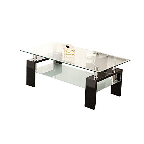 OSPI 2 Tier Tempered Glass Square Side Table Coffee Table (Black-Large)