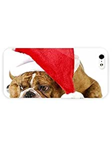 3d Full Wrap Case for iPhone 5/5s Animal English Bulldog With A Santa Hat