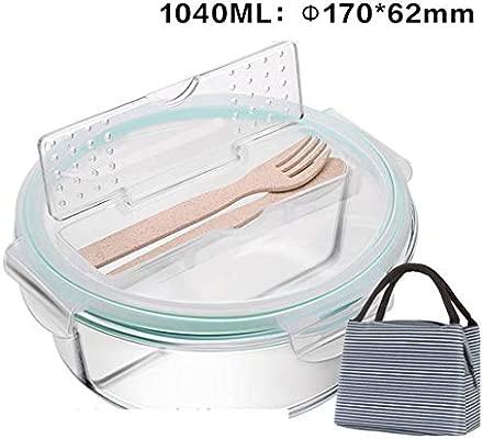 Fiambrera de cristal, para microondas, con cubiertos, color blanco ...