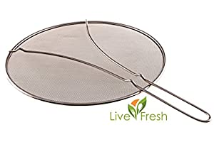 "LiveFresh Stainless Steel Heavy Duty Fine Mesh 13"" Splatter Screen with Resting Feet"