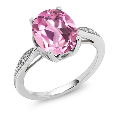 Gem Stone King 3.04 Ct Oval Light Pink Created Sapphire White Diamond 14K White Gold Ring (Size 9)