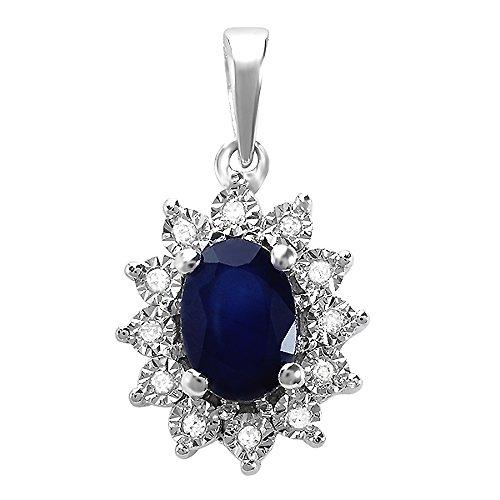 Kate Middleton Diana Inspired 10K White Gold Round Diamond & Oval Blue Sapphire Pendant