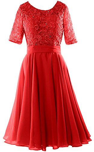 MACloth Elegant Short Mother of the Bride Dress Half Sleeves Lace Formal Gown Rojo