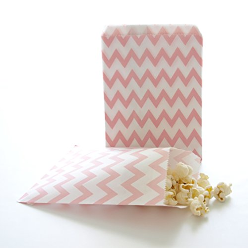 Birthday Loot Giveaway Bags, Pink Chevron (25 Pack) – Fun Paper Party Supplies for Snacks, Favors & Gifts