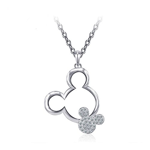 (Mall of Style Mickey Mouse Necklace for Women/Girls - Silver Trendy Plated Character Jewelry (Silver))