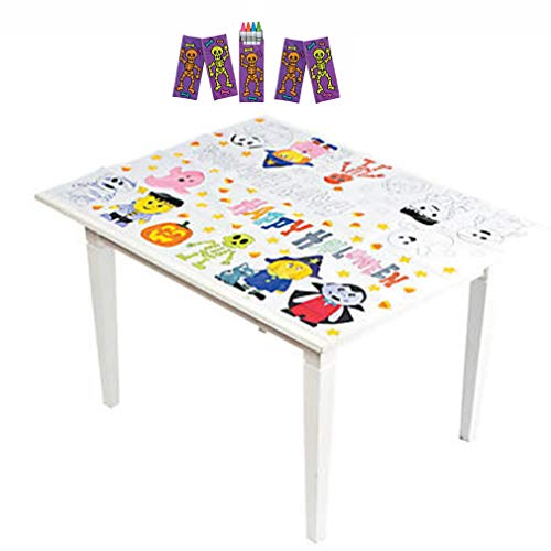 Halloween Coloring Papers (Halloween Coloring Tablecloth Halloween Activities for Kids with 20 Crayons Size 3 Feet by 4 feet. Halloween)