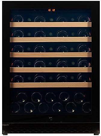 Vinoteca Pevino para 46 botellas │ Vinoteca empotrable con una zona de enfriamiento con rango de temperatura de 5-20 ° C │ Puerta de vidrio negro y estantes de madera de haya[Clase de eficiencia energética A+]
