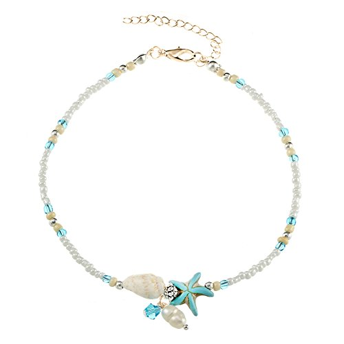 Cren Handmade Shell Beads Ankle Chain Retro Adjustable Anklet Bracelet Sandal Beach Foot Accessory
