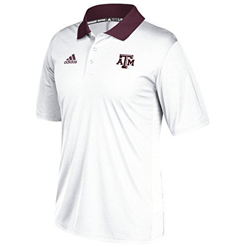 Texas A&M Aggies Adidas NCAA 2017 Sideline Coaches Polo Shirt - White (Adidas Shirt Polo Sideline)