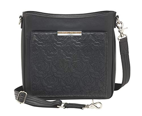 (Concealed Carry Crossbody Organizer by Gun Tote'n Mamas (Black Lambskin) )