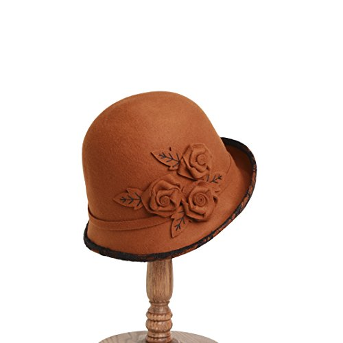 - vaevanhome Elegant Bowl Cap Exquisite Lace Flower Female Hat Autumn and Winter Dome Curly Hair Coat, Adjustable, Caramel Color