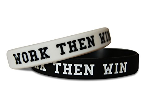 Novel Merk Work Then Win & Team Gym Rat Fitness & Bodybuilding Silicone Rubber Band Wristband Bracelet for Workout, Training, & Sports Motivation Accessory (2 Work Then Win White & (Team Rubber Bracelet)