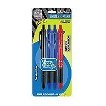 Zebra 4-Pack Z-Mulsion (Emulsion Ink) 1.0MM Medium Assorted Ink Retractable Pens (1 Black, 2 Blue, 1 Red)